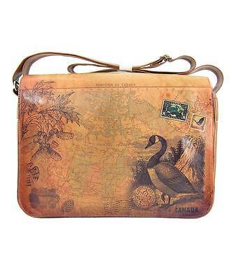 Sale Canada Goose (Viaggio Goose Canada Map Messenger Laptop Padded Knitting Bag Vegan Sepia SALE)