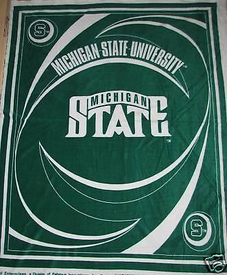 University Fleece Fabric Panel - Michigan State University Swirl Fleece Fabric Panel  MIST-015