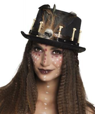 Voodoo Steampunk Zylinder Hut mit Knochen Pirat Barock Kostüm Herren Damen