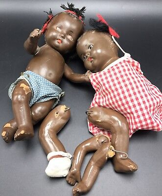 2 Black Baby Dolls African American Doll Antique Doll Primitive Dolls
