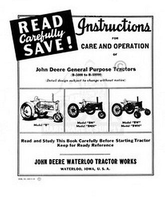John Deere B Bn Bnh Bw Bwh Operators Instruction Manual