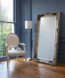 NEW Silver or Cream Large 6ft Wooden Carved Louis Leaner Mirrors £149 OPEN SUNDAY 1-3