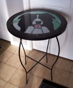 Stained Glass Border Collie Table Hand Crafted