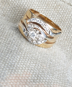 Engagement. Wedding band and first anniversary ring.