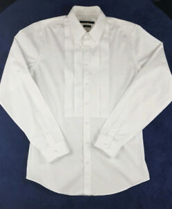 GUCCI Mens Skinny Fit All White Tuxedo Dress Shirt Size 41 - 16