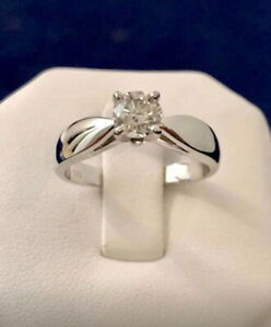 14k white gold .59ct. diamond engagement ring/Certified --$5,100