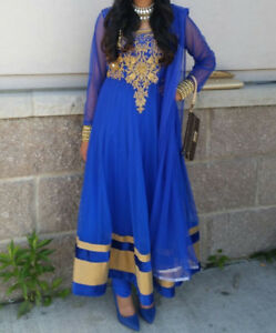 Indian suit (royal blue with gold details)