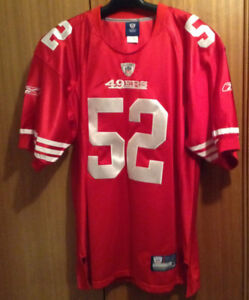 NEW  -Size 50 REEBOK NFL Red Jersey,  #52 WILLIS,  49ERS