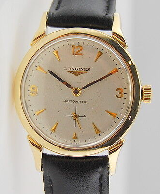 MENS VINTAGE 14K YELLOW GOLD LONGINES AUTOMATIC 33MM FANCY LUGS WRIST WATCH