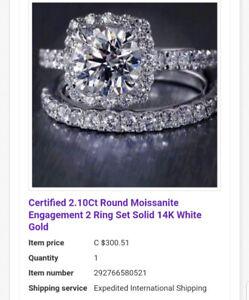 Certified Moissonite and 14k White gold wedding set.