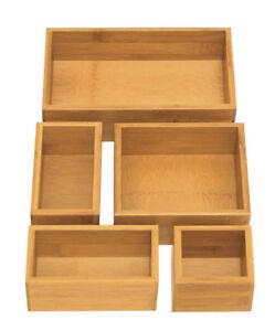Seville Bamboo Drawer Organizer Boxes
