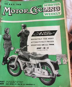 2 vtg motorcycle weekly 1960s Ariel Arrow