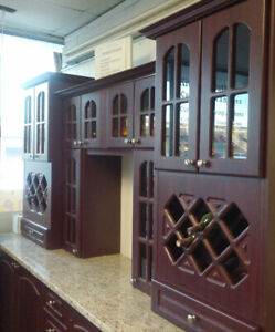 Wall bar cabinets with vine racks and granite countertop - 9'