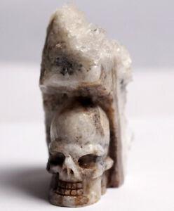 100g  Hand Carved Crystal Skull Crystal Cluster