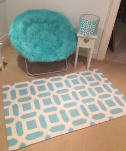 Pottery Barn Teen Himalayan Faux Fur Hang-A-Round Chair and Rug