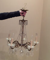 Antique cast brass, glass and crystal chandelier