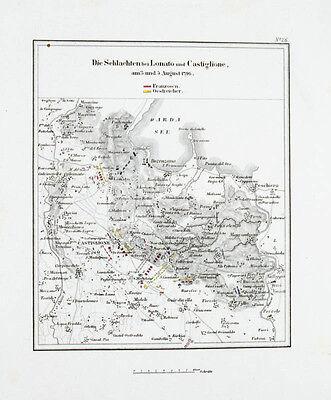 1857 Castiglione delle Stiviere Lonato Napoleon Kolorierter Kupferstich-Plan