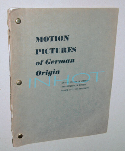 CATALOG of MOTION PICTURES of GERMAN ORIGIN Office of Alien Property 1952 RARE