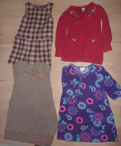 4 fall dreses plus 2 skirts, size 6T, $ 5 for everything