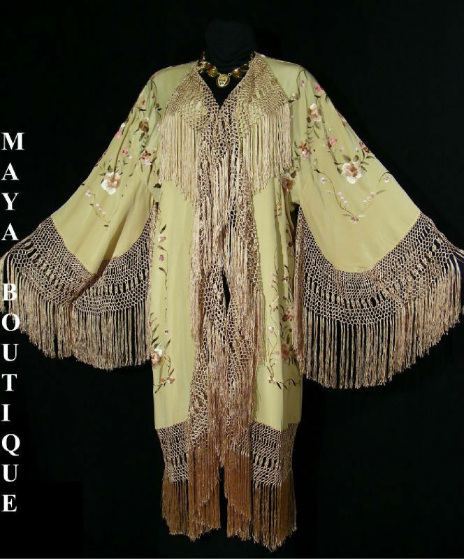 Silk Fringe Jacket Opera Coat Kimono Duster Embroidered