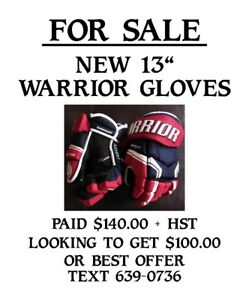 New 13'' Warrior Hockey Gloves for Sale