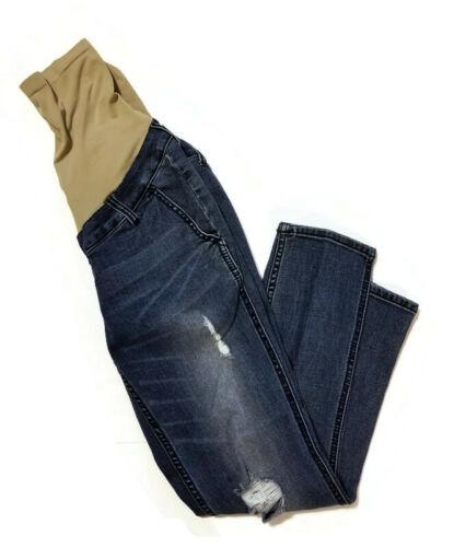 Indigo Blue Distressed Maternity Skinny Jeans Size Small Denim Medium Wash