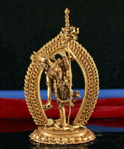 """5.6"""" Tibet Buddhism Copper 24K Gold Gilt Vajravarahi Dorje Phakmo Buddha Statue"""