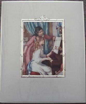 """RENOIR'S """"AT THE PIANO"""" ART REPRODUCED IN ITALY ON 3X4"""" SILK AS GREETING CARD"""