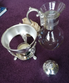 Silver plated and glass jug carafe