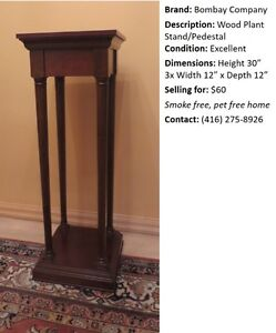 Bombay Company Wood Plant Stand / Pedestal