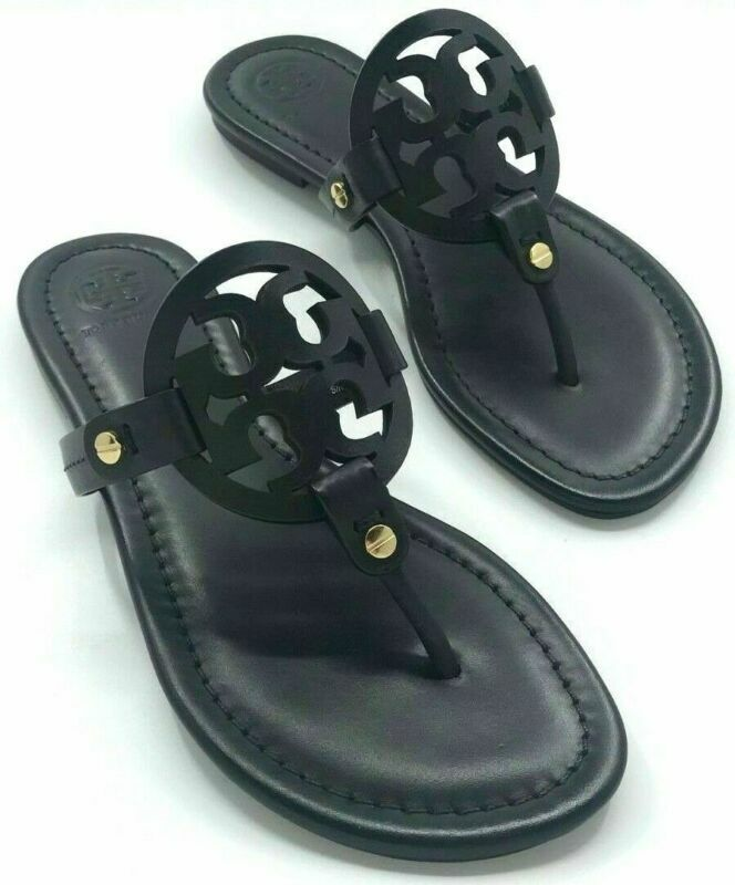 1 Pair Black Tory Burch Miller Sandals  Shiny Leather  New Without Box【US】
