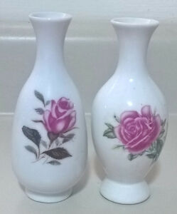 Vintage White Porcelain Vases with Rose Flowers