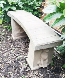Ornate Curved Stone Garden Bench ~ One of a kind ~