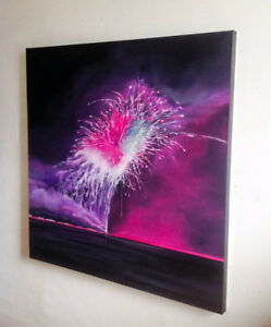 """One of a Kind Firework Oil Painting, 40""""x40"""", Toronto Artist"""