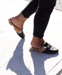 SHEIN faux fur loafers