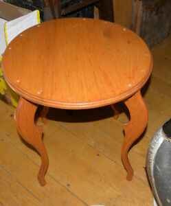Round Wooden Table with Marilyn Monroe Curves.