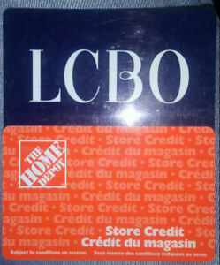 Lcbo $20 and Home depot store credit $74.38 cards