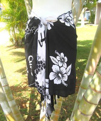 Hawaiian Beach Sarong Short Black White Hibiscus Pareo Luau Cruise Wrap Skirt