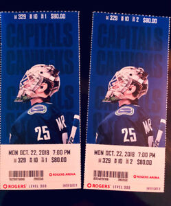 Canucks vs. Washington Capitals Mon Oct 22nd - BELOW FACE VALUE!