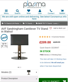 AVF Sandringham Cantilever TV Stand in Walnut