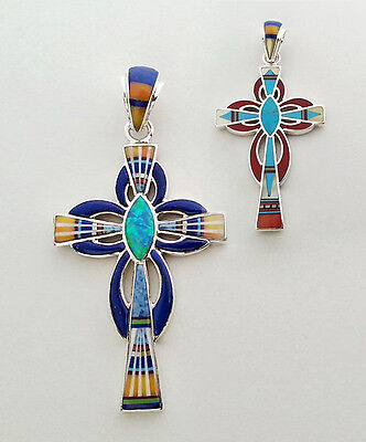 SUBLIME HANDMADE .925 SILVER CROSS PENDANT IN TURQUOISE/MULTICOLOR INLAY