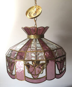 Pink Tiffany Stained Glass Lamp Chandelier