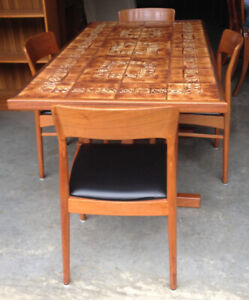 Teak Tiled Top Table With 4 Chairs