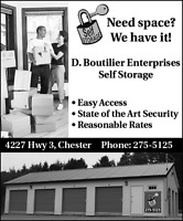 Self Storage Rental Chester N.S. 902-275-5125