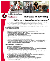 First Aid and CPR Instructor for St. John Ambulance