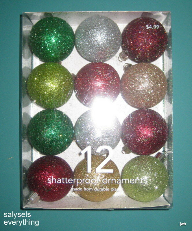Christmas Ornaments~Unbreakable~1.75 in~Assort.~Collectible~EUC~12 in box