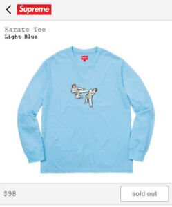 S>Brand New Supreme SS18 Karate Tee in Light Blue (M) - $225