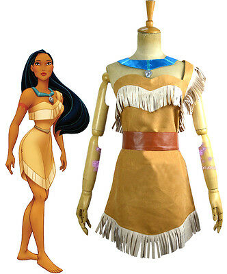 Pocahontas Adult Costume Indian Princess Cosplay Dress Necklace Native American](Cosplay Pocahontas Costume)