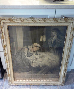 Beautiful Vintage Framed Religious Print, 1905