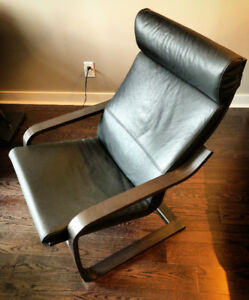 IKEA: Poang Leather Armchair + Leather Ottoman